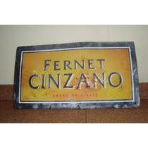 Cartel Antiguo De Chapa Fernet - Cinzano, Original