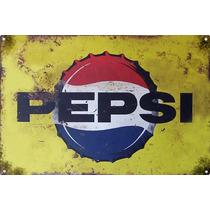Cartel Antiguo Pepsi Grande 90x60cm De Chapa Gruesa (1,25mm)