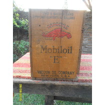 Muy Buen Antigua Caja De Aceite Gargoyle Mobiloil E Pinotea