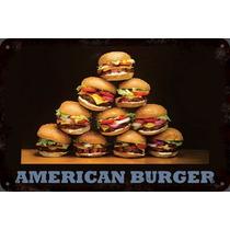 Carteles Antiguos De Chapa 60x40cm Burger Hamburguesa Al-052