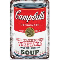 Carteles Antiguos De Chapa 60x40cm Campbells Warhol Al-001