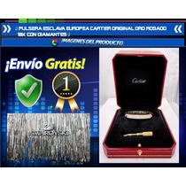 Pulsera Esclava Estilo Europeo Oro Rosado 18k Con Diamantes