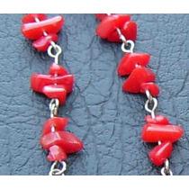 Conjunto Pulsera Y Aros En Piedra Coral Rojo Y Alpaca