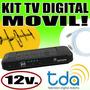 Kit Móvil Tv Digital Tda C/cable 12 V + Antena + 5 M Coaxil