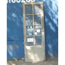 Puerta De Cedro Antigua De 1 Hoja Con Vidrio Repartido