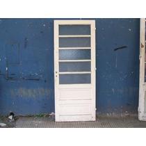 Puerta De Cedro Antigua Con Vidrio Repartido