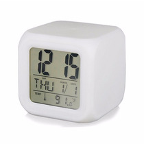 Reloj Despertador Cubo Digital -luminoso 7 Colores - Luz Led