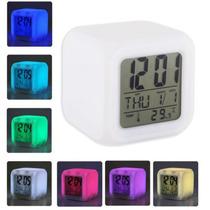 Reloj Cubo Luminoso Digital Led Cambia Colores