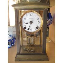 Reloj De Mesa Ansonia A Pendulo Bronce Vidrio Biselado