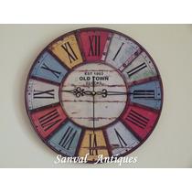 Relojes De Pared Deco Shabby Vintage Enormes 50 Cm Oferta