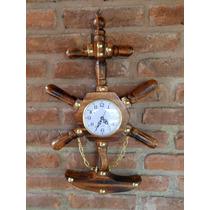Reloj Timón De Pared Ancla De Madera Barnizada, Decoración