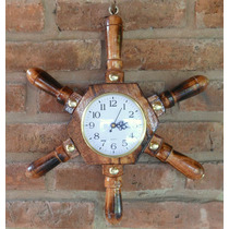 Reloj Timón De Pared De Madera Barnizada, Decoración
