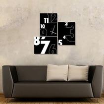 Reloj De Pared Tríptico 70x70cm Cuadro Diseño Moderno
