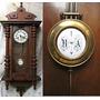 Antiguo Reloj De Pared, Cuadrante Y Pendulo Enlozados