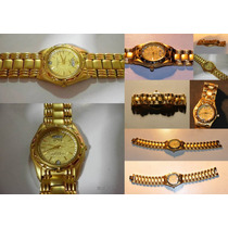 Hermoso Reloj Dama Lobor Baño Oro 18k Strass