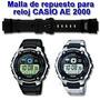 Malla De Reloj Casio Ae2000 Original De Caucho-local Centro