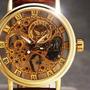 Reloj Clásico Tipo Oro Mas Colores Malla Cuero Con Estuche
