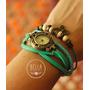Reloj Pulsera Cuero Ecológico Vintage Estampado Floreado