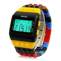 Reloj Digital Estilo Minecraft Lego Cronometro Luz Alarma