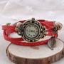 Reloj Pulsera Vintage Malla Cuero Dijes
