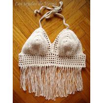 Top-bikini Boho Chic Con Flecos - Forrada - Tejida A Crochet
