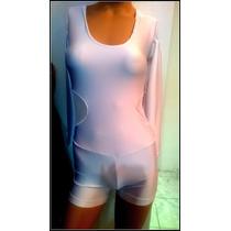 Body Blanco De Lycra Con Short Y Transparencia M Larga