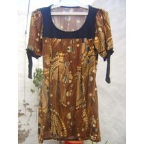 Remera/ Vestido De Dama En Colores Marrón Y Naranja