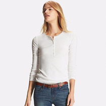 Uniqlo Remera Supina Cotton Henley Neck Manga Larga