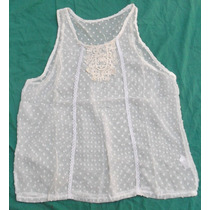 Blusa Camisa Musculosa Blanca En Plumetí Nueva Talle M