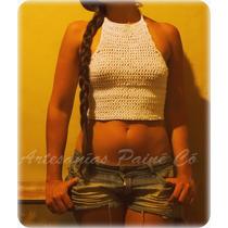 Top Espalda-less Tejido A Crochet ( Artesanal! )