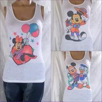 Musculosas Estampadas Blancas Con Personajes Disney, Oferta!