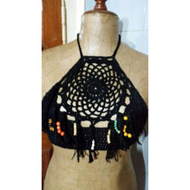Top Corpiño Tejido Crochet Con Flecos Y Abalorios