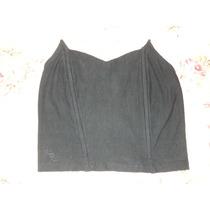 Top Bando Strapless Color Negro Con Picos Elastizado