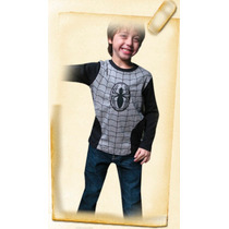 Remera Hombre Araña Negro Y Gris Con Luces Led Para Chicos