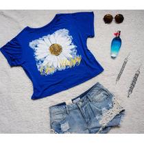 Remera Modal Estampada, Azul Con Flor Margarita..