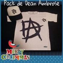 Remeras Wwe Dean Ambrose Pack Remera + Gorra + Muñequera