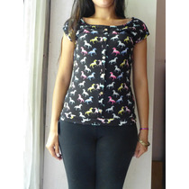 Remera De Modal Estampada T Small $200.- Stock 1