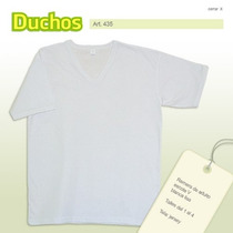 Remera Lisa Adulto Escote V Blanca. Talles S-m-l-xl.