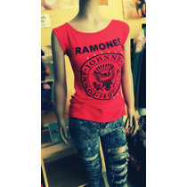Remera Remerita Mujer Ramones Roja Rock Punk Modal Sexy