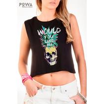 Top Powa 100% Algodón Con Estampa Calavera Ananá Skull