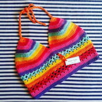 Tejidos Artesanales A Crochet: Crop Top Multicolor!
