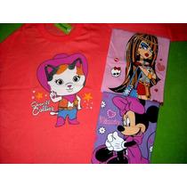 3 Camisetas Mangas Largaspara Niñas Nena Talle 2 4 6 8 10 12