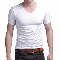 Pack X 10 Remeras Escote V Entalladas Slim Fit Para Hombres