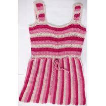 Remera Tejida Al Crochet En Tres Tonos De Rosa.