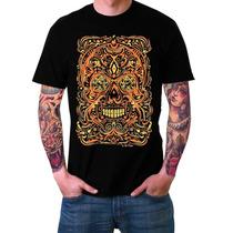 Remera Estampada Gold Mexican Skull (negra)