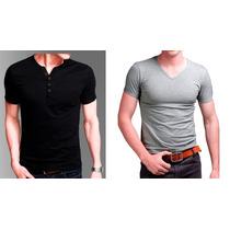 Promocion Pack X 2 ! Remeras Entalladas Slim Fit Para Hombre