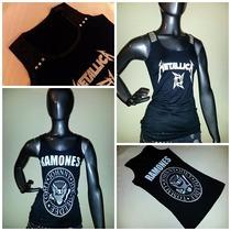 Musculosa Metallica Ramones Detalle Lentejuelas/ Tachitas.!