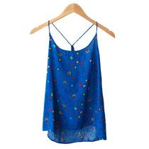 Remera Blusa Moni Top Mujer Estampada Fibrana Azul Y Crudo