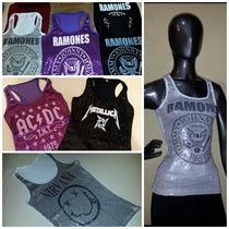 Musculosas De Lentejuelas Ramones Y Ac Dc - Varios Colores !
