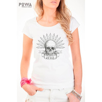 Remera Premium Estampada 100% Algodón Calavera Skull - Powa